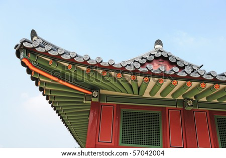 korean traditional building roof - stock photo