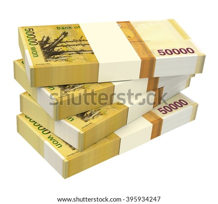 Korean won bills isolated on white background. Computer generated 3D photo rendering. - stock photo