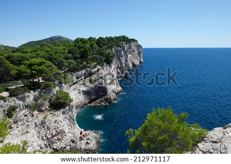 Kornati archipelago, Clifs Telascica in National park Kornati, Adriatic sea in Croatia - stock photo