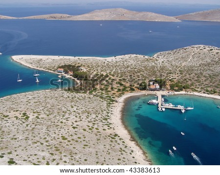 Kornati island - Ravni Zakanj - Adriatic sea - Aerial view - stock photo