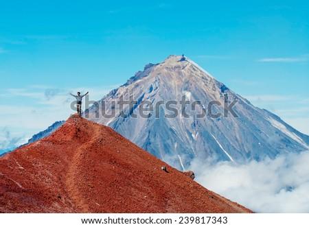 Koryaksky volcano at Kamchatka Peninsula in Russia.  - stock photo