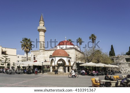 KOS ISLAND, GREECE - MARCH 21, 2016; Famous Eleftherias Square of Kos town in Kos island of Greece. - stock photo