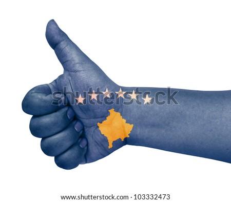Kosovo flag on thumb up gesture like icon on white background - stock photo