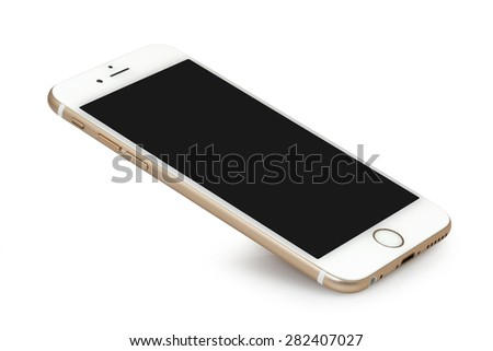 Koszalin, Poland - April 30, 2015: Golden iPhone 6 on white background. The iPhone 6 is smart phone with multi touch screen produced by Apple Computer, Inc. - stock photo