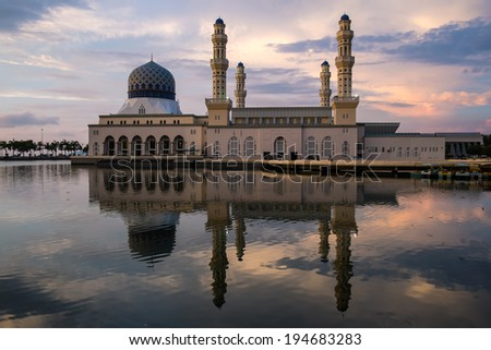 Kota Kinabalu city floating mosque at evening - stock photo