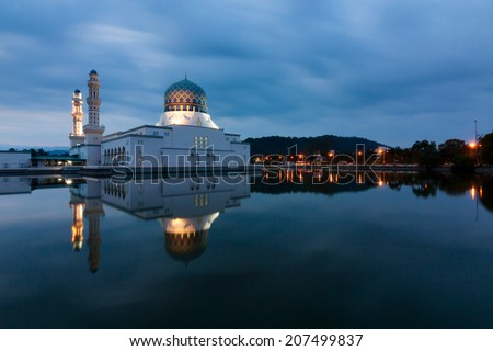 Kota Kinabalu mosque at dawn with long exposure, Sabah, East Malaysia, Borneo - stock photo