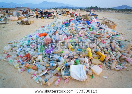 Kota Kinabalu Sabah Malaysia - Mar 19, 2016:Various type of recylable plastic bottle collected by scavenger at Kayu Madang landfill dumping site in Kota Kinabalu Sabah pictured on Mar 19, 2016. - stock photo