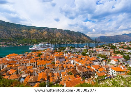 Kotor Bay and Old Town - Montenegro - nature and architecture background - stock photo