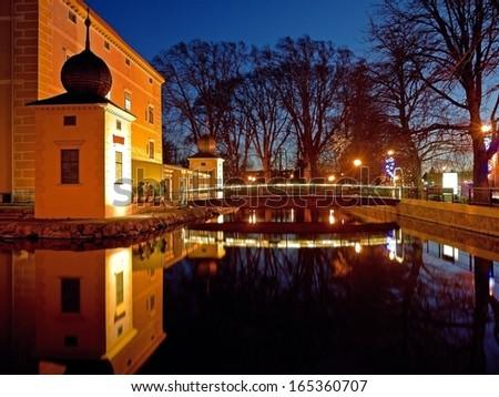 KOTTINGBRUNN, AUSTRIA - 1 DECEMBER 2013: The castle in Kottingbrunn, which is a landmark in Lower Austria, is also the location of a Christmas market. Kottingbrunn, Dec 1 2013  - stock photo