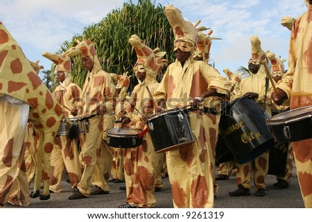 KOUROU, FRENCH GUIANA - JANUARY 28: this group participates in the main carnival parade January 28, 2008 in Kourou, French Guiana. - stock photo