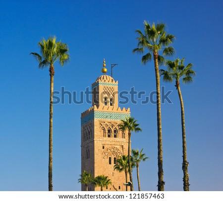 Koutoubia Mosque minaret in Marrakech, Morocco - stock photo