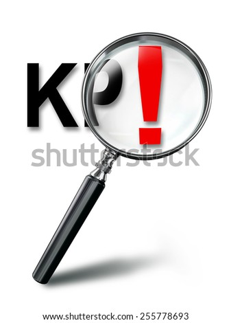 KPI key performance indicator and red exclamation mark with magnifying glass on white background. - stock photo