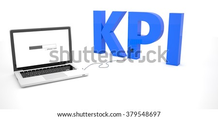 KPI - Key Performance Indicator - laptop notebook computer connected to a word on white background. 3d render illustration. - stock photo