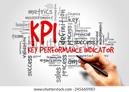 KPI Key Performance Indicator related items words cloud, business concept - stock photo