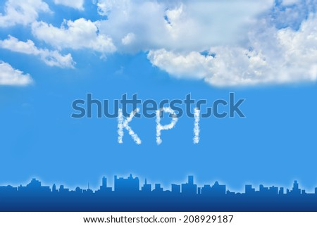 KPI or Key Performance indicator text on cloud with blue sky - stock photo