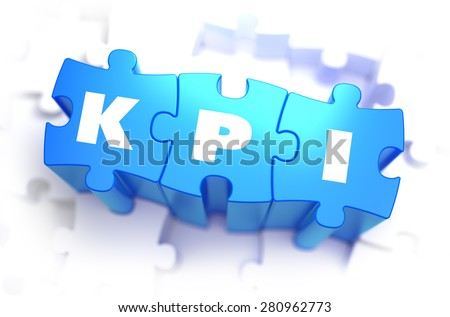 KPI - Text on Blue Puzzles White Word on White Background. 3D Render. 3D Render.  - stock photo