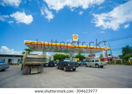Krabi, 30 june 2015: Shell gas station in Krabi district, Krabi province, Thailand. Royal Duch Shell is largest oil company in the world - stock photo