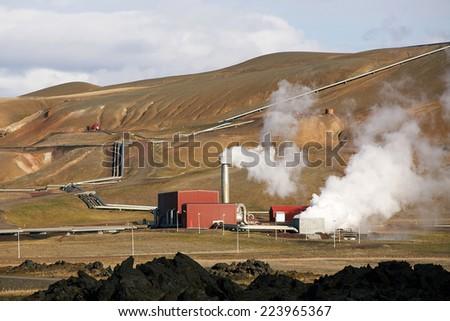 Krafla, the Geo thermal Power Station, Northen Iceland - stock photo