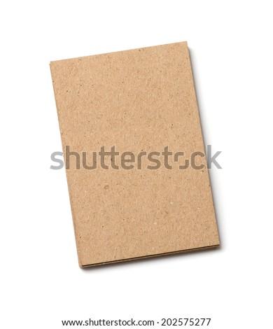kraft postal card on a white background - stock photo
