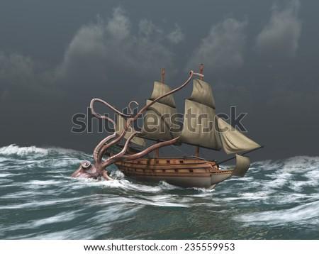 Kraken attacking an ancient ship - stock photo