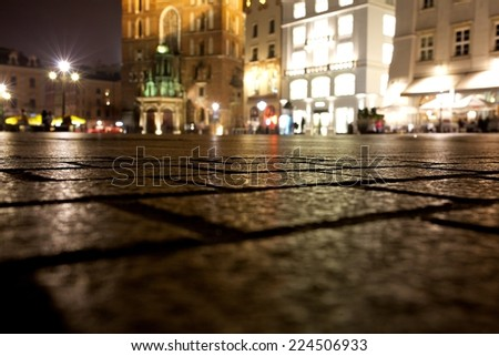 Krakow Market Square at night with night lights, Poland, Europe - stock photo