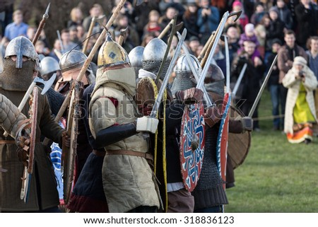 KRAKOW, POLAND - APR 7, 2015: Unidentified participants of Rekawka - Polish tradition, celebrated in Krakow on Tuesday after Easter. Currently has the character of festival historical reconstruction - stock photo