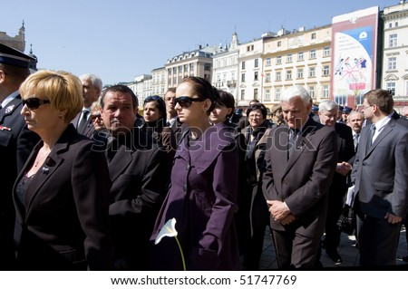 KRAKOW, POLAND - APRIL 25: Funeral for Polish Major General Wlodzimierz Potasinski, commander of the country's special forces who was killed in a plane crash. April 25, 2010 in Krakow, Poland - stock photo