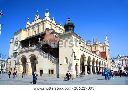 KRAKOW, POLAND - APRIL 10, 2015: Sukiennice in historical center of Krakow, April 10, 2015 in Krakow, Poland - stock photo