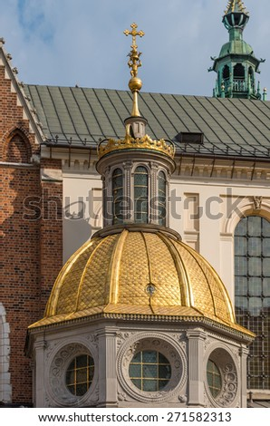 Krakow, Poland, Wawel cathedral, golden dome of the famous Sigismund's Chapel built in Tuscan Renaissance style as the funerary chapel - stock photo