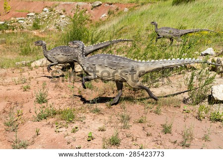 KRASIEJOW, POLAND - 29 April 2015 JuraPark, Models of dinosaurs, open-air museum - stock photo