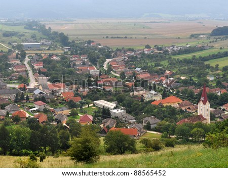 Krasnohorske podhradie - small village in Slovakia, under castle Krasna Horka. - stock photo