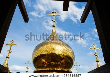 Krasnoyarsk, Russia - May 29, 2015: Construction of church - stock photo