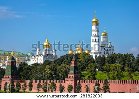 Kremlin battlement in Moscow, Russia - stock photo