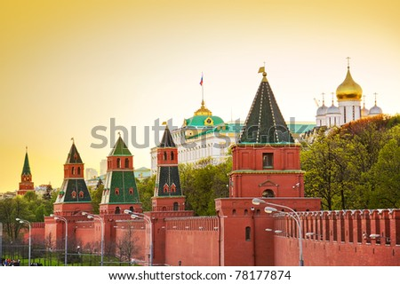 Kremlin in Moscow (Russia) at sunset - stock photo