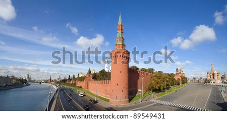 Kremlin,  Red Square and St Basil Cathedral panorama, Moscow - stock photo