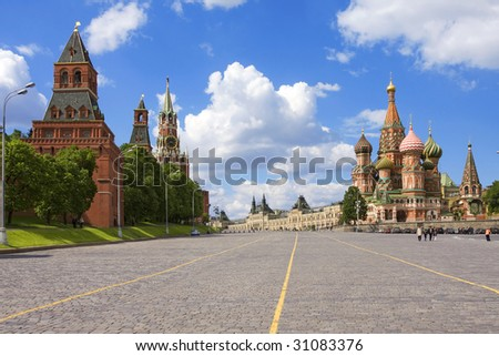Kremlin, St. Basil Cathedral: red square, Moscow, Russia - stock photo