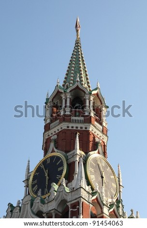 Kremlin tower on sky background in city center - stock photo