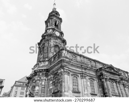 Kreuzkirche meaning Church of the Holy Cross in Dresden Germany is the largest church in Saxony in black and white - stock photo