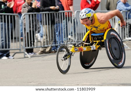 Krige Schabort, from South Africa, during the 112th Boston Marathon celebrated on April 21st, 2008. Schabort won silver medal in the race with a time of 1:30:39. - stock photo