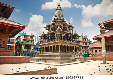 Krishna Mandir Temple, Durbar Square, Patan, Lalithpur city. Nepal.  - stock photo