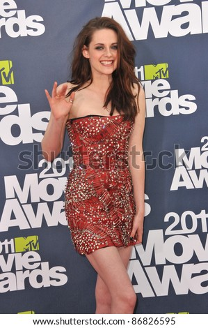Kristen Stewart arrives at the 2011 MTV Movie Awards at the Gibson Amphitheatre, Universal Studios, Hollywood. June 5, 2011  Los Angeles, CA Picture: Paul Smith / Featureflash - stock photo
