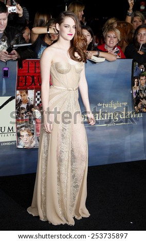 """Kristen Stewart at the Los Angeles Premiere of """"The Twilight Saga: Breaking Dawn - Part 2"""" held at the Nokia L.A. Live Theatre in Los Angeles, California, United States on November 12, 2012. - stock photo"""