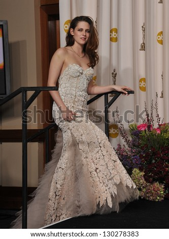 Kristen Stewart at the 85th Academy Awards at the Dolby Theatre, Los Angeles. February 24, 2013  Los Angeles, CA Picture: Paul Smith - stock photo