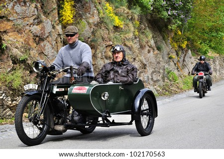 KRIVONOSKA - MAY 5: 1922 B.S.A. 770 motorbike on Car Competition during 42th Czech Veteran Rallye. May 5, 2012 in Bechyne, Czech Republic. - stock photo