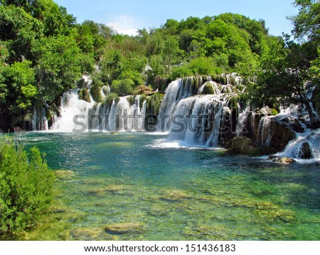 Krka river waterfalls in the Krka National Park, Roski Slap, Croatia - stock photo