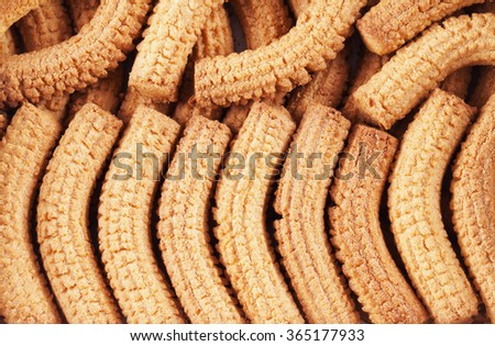 Krumiri biscuits in two rows, horizontal image - stock photo