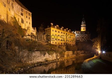 Krumlov Castle at night in Cesky Krumlov, Czech Republic. - stock photo