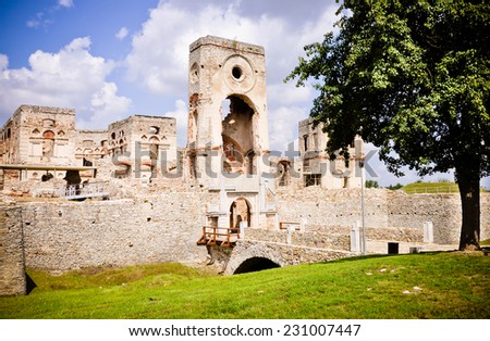 Krzyztopor (eng. Crossaxe) castle ruins in Ujazd village Poland. - stock photo