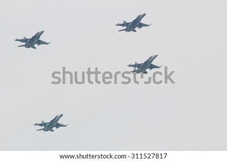 KUALA LUMPUR -  Aug 27 : Sukhoi Su-30MKM from the Royal Malaysian Air Force army perform in the sky during the rehearsal for National Day parade on Aug 27,2015, Dataran Merdeka, Kuala Lumpur, Malaysia - stock photo