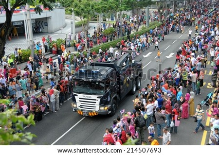 KUALA LUMPUR - AUGUST 31: transport from Police department during 57th Celebrations, Malaysian Independence Day Parade on August 31, 2014 in Kuala Lumpur, Malaysia.  - stock photo